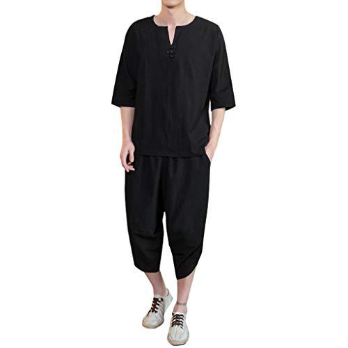 Herren Sommer chinesischen Stil dünne große Leinen Tang Kleid Kurzarm Set (Schickes Kleid Super)