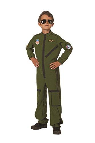 üm Jet-Pilot, oliv-grün, Overall 164 (Mädchen Kostüm Pilot)