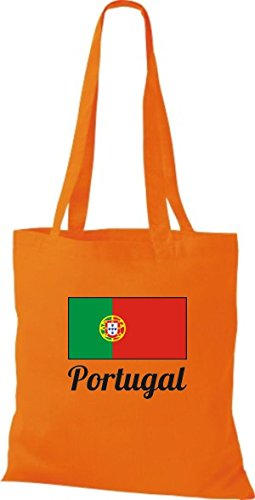 ShirtInStyle Stoffbeutel Baumwolltasche Länderjute Portugal Farbe Pink orange