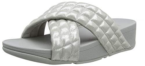 FitFlop Damen Lulu Padded Shimmy Suede Slides Sandalen, Silber (Silver 011), 38 EU -