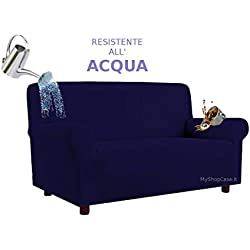 Biancheria&Casa Copridivano 4 Posti Antimacchia Elasticizzato Resistente all'Acqua in Stock : Colore - Blu