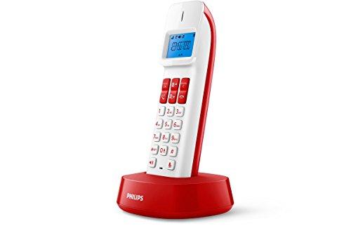 Philips D1411WR - Teléfono inalámbrico con altavoz, identificación de llamadas entrantes, configuración fácil, sonido puro y claro, blanco y rojo