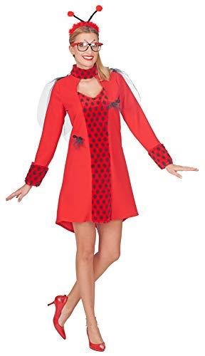 Marienkäfer Bella Kostüm Kleid für Damen - Rot/Schwarz Gr. 44/46 -