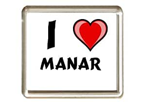 I love Manar. aimant de réfrigérateur (prénom/nom/surnom)