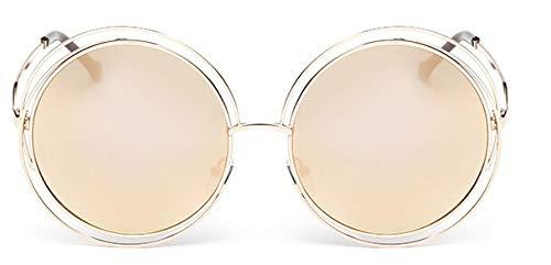 Macxy - Vintage Round Big Size Maxi-Objektiv Spiegel-Sonnenbrille Frauen Metallrahmen Lady Sun-Glas-Dame Cool Retro [Gold Pink]