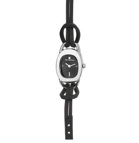 Ted Lapidus B0207RNPN - Reloj analógico de mujer de cuarzo con correa de piel negra