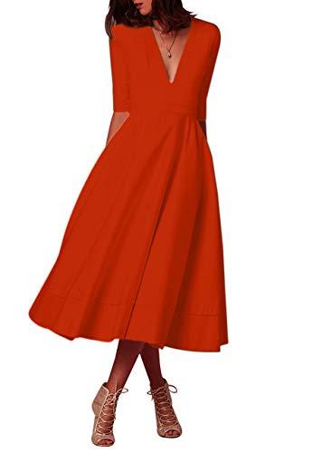 OMZIN Damen Sommerkleid Halb Arm V Ausschnitt Sexy Partykleid Einfärbig Cocktail Kleid Orange S