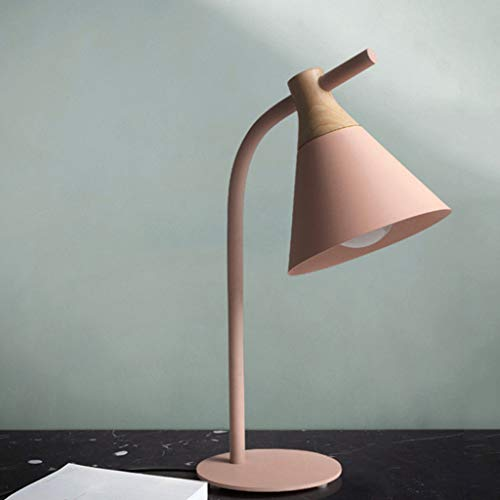 QIYINGYING Tischlampe Macaron Nordic Einfache Schlafzimmerlampe kreative Moderne Kinderzimmer-Lampe Studie Eye Care Lernstudenten 粉色【送7瓦LED灯】-按钮开关