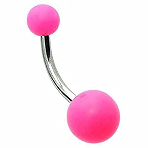 1 x Vibrant Pink Solid Coloured Acrylic Double Balled Surgical Steel Belly Bar Piercing 10mm Length 1.6mm Thickness Surgical Steel