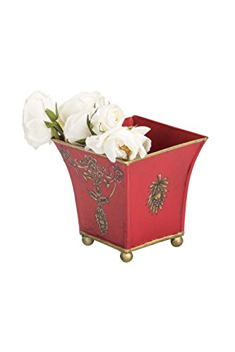 Sammsara Viraya Jodhpuri Red Ornate Flower Hand Painted Hand Made Iron Flower Vase with brass feet   Decorative Flower Vase Pot for Indoor,Outdoor,Home Décor  available at amazon for Rs.999