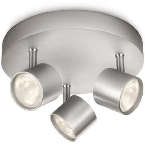 Philips myLiving Star - Barra de focos, LED, 3 luces, aluminio, luz blanca cálida, 3 W, color gris