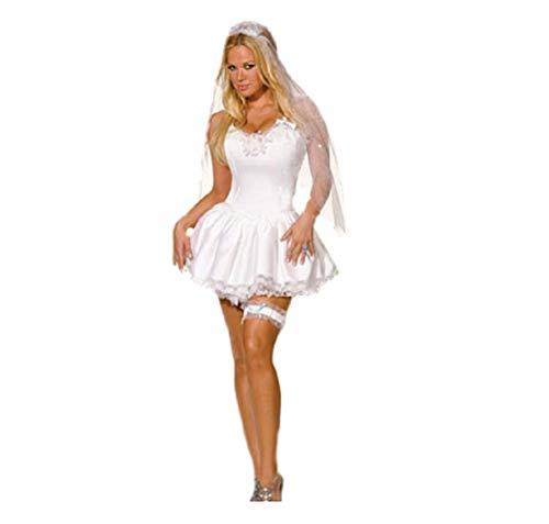 Top Totty Sexy Braut Weiß Hochzeit Korsett Junggesellinnenabschied Kleid Kostüm