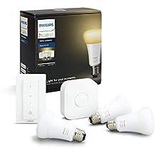 Philips Hue White Ambiance - Kit de 3 bombillas LED E27 con puente y mando, 9 W, iluminación inteligente, regulable, compatible con Amazon Alexa, Apple HomeKit y Google Assistant