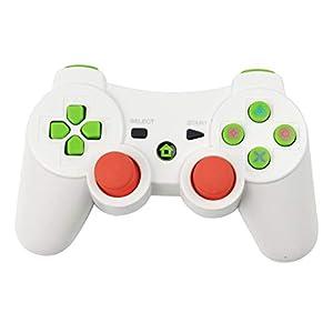 RQINW PS3 Wireless Bluetooth Game Controller PS3 Controller, USB-Aufladung, Vibrationsrückmeldung (weiß)