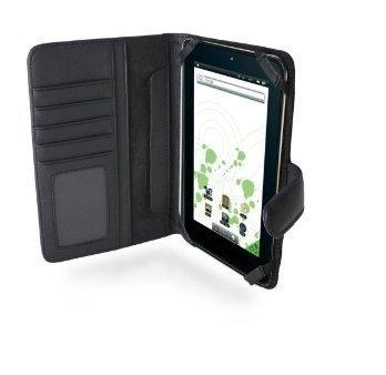 Navitech echte schwarze 7 Zoll bycast Leder flip Trage Tasche / Cover im Buch Stil für das ZTE Base Tab 7,1 Zoll