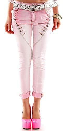 Strass-pocket-jeans (f4y Dolce VITA - Damen 5-Pocket-Denim Stretch Boyfriend Button Röhren-Jeanshose - Rosa - Size 40 - mit Zierknopfleisten)