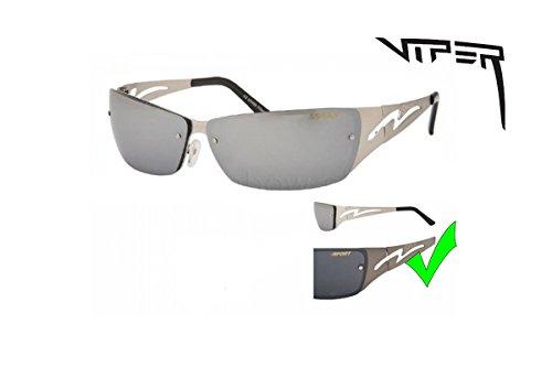 Brille Sonnenbrille Viper-Stahl Design Chrom-v-823 Einheitsgröße schwarz