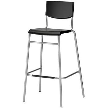 ikea stig barhocker in schwarz stapelbar 74cm amazon. Black Bedroom Furniture Sets. Home Design Ideas