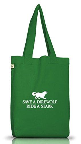 SAVE A DIREWOLF, RIDE A STARK, Jutebeutel Stoff Tasche Earth Positive (ONE SIZE) Moss Green
