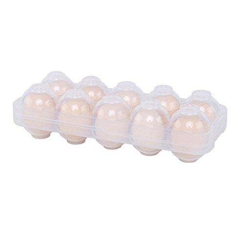 BESTONZON Dispensador de huevos Contenedor de huevos Contenedor de huevos a prueba de golpes Bandeja de almacenamiento con 10 compartimentos para el refrigerador (Transparente)