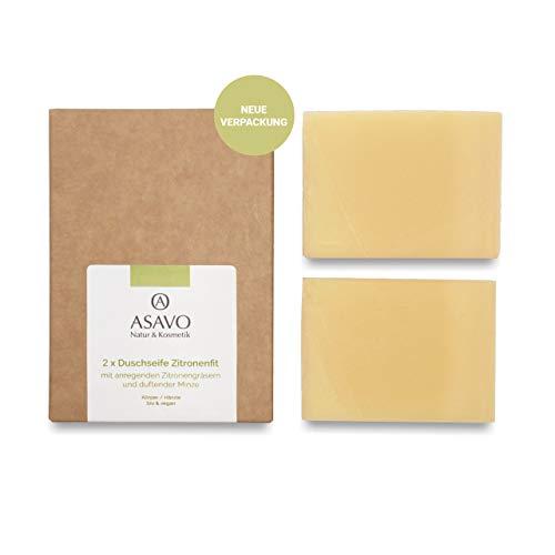 ASAVO Premium Naturseife Zitronenfit, handgeschöpfte Naturseife, mit Bio-Karitébutter & dem Duft von Zitronengras & Minze, vegan, ohne Palmöl, 2x95g