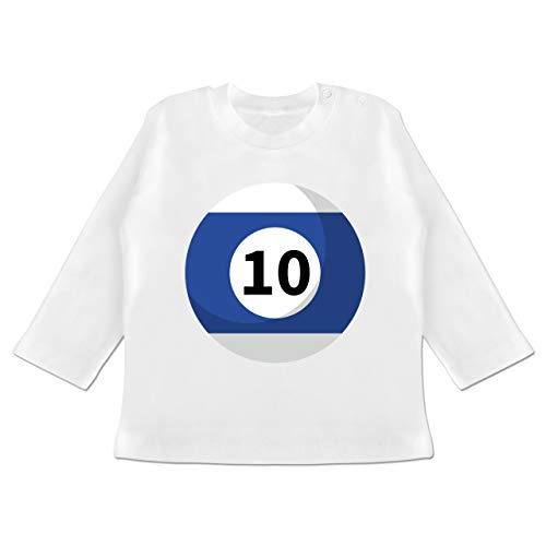 Karneval und Fasching Baby - Billardkugel 10 Kostüm - 12-18 Monate - Weiß - BZ11 - Baby T-Shirt Langarm