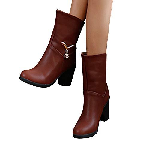 TianWlio Stiefel Frauen Herbst Winter Schuhe Stiefeletten Boots Lässige Warme Schuhe Metall Dekorative High Heel Stiefel Baumwolle Stiefeletten Boots Wein 42