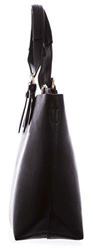 Big Handbag Shop Designer Ispirato Tinta Unita Borsa 2in 1maniglia superiore borsa a tracolla Red - Black (LL330)