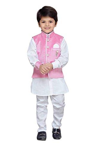 AJ Dezines Kids Kurta Pyjama Waistcoat Set for Baby Boys (7004_PINK_1)