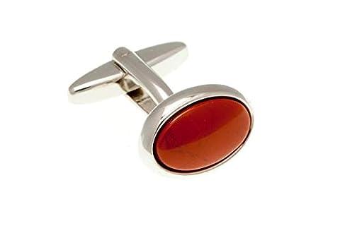 Jaspe Rouge cabochon ovale pierre semi-précieuse boutons de manchette