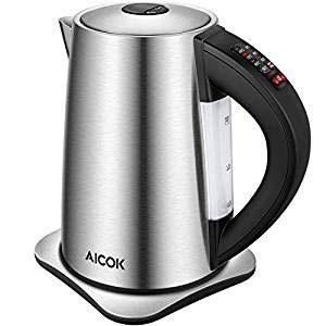 Wasserkocher AICOK 2200W Wasserkocher mit Temperatureinstellung, 6 Programmierbare Temperaturregelung mit Auto-Start und Warmhalten, Wasserkocher Edelstahl mit BPA-Frei, 1.7L, Überhitzungsschutz