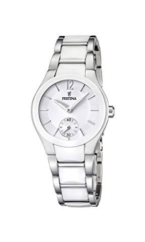 Festina Women's Quartz Watch with White Dial Analogue Display and White Stainless Steel Bracelet