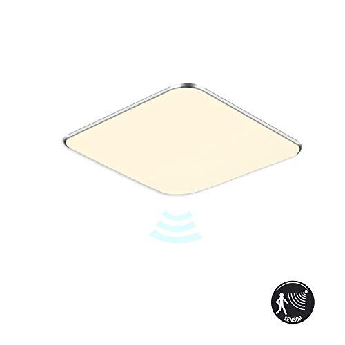 MCTECH LED Deckenlampe mit Bewegungsmelder 12W Warmweiß Deckenleuchte LED 1080 Lumen Radar Sensorleuchte für Wohnzimmer Schlafzimmer Flur Bad, Quadrat 30 x 30 cm