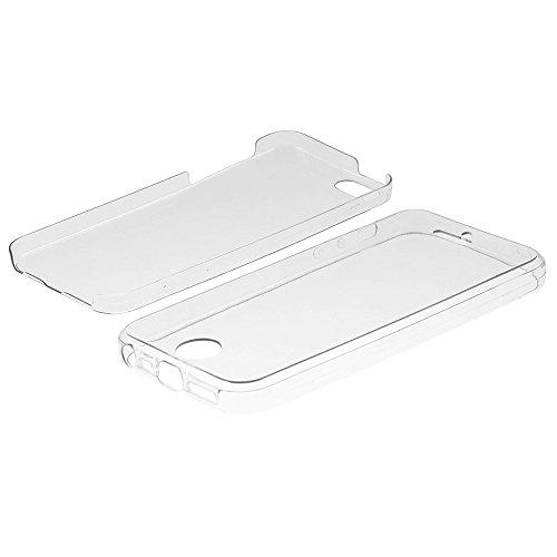 VComp-Shop® 360° Ultra dünne Silikon Handy Schutzhülle VORNE + HINTEN RUNDUM SCHUTZ für Apple iPhone 5/ 5S/ SE - TRANSPARENT TRANSPARENT + Großer Eingabestift