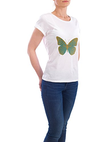 "Design T-Shirt Frauen Earth Positive ""Gold and Green Butterfly"" - stylisches Shirt Tiere Natur Fashion Fiktion von Paper Pixel Print Weiß"