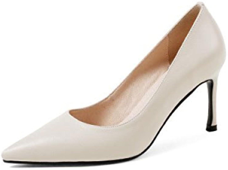 DKFJKI Talons Hauts Cuir pour Femmes Cuir Hauts Pointu Talon Fin Talon Haut Bouche Peu Profonde Chaussures BassesB07CFX6BXXParent 7364a1