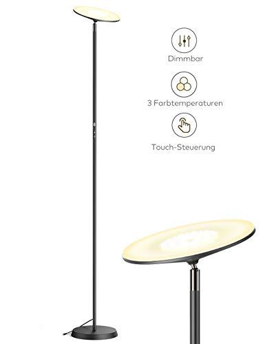 Stehlampe TaoTronics Deckenfluter LED Dimmbar 30W Stehleuchte für Wohnzimmer Schlafzimmer, hohe 30.000 Stunden Lebensdauer, 3 Farbtemperaturen, 3 Helligkeitsstufen
