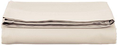 AmazonBasics Bettlaken, Baumwoll-Satin Fadenzahl 400, knitterarm, 180 x 290 + 10 cm - Beige