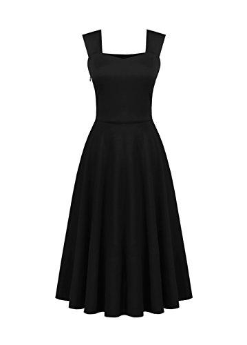 Dressvip Rétro Vintage Années 50 Audrey Hepburn Rockabilly Pin up Robe de Soirée Col Cœur sans Manches mi Longue Noir