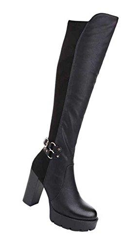 Damen Overknee Stiefel Schuhe Mit Reißverschluss Schwarz 36 37 38 39 40 41 Schwarz