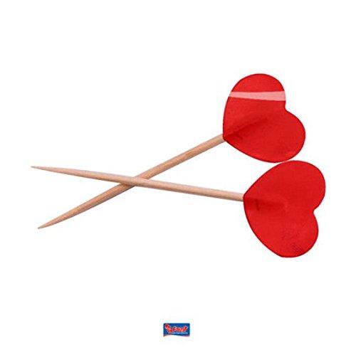 Party Picks rot Valentine Herzen 6,5cm (50Stück)