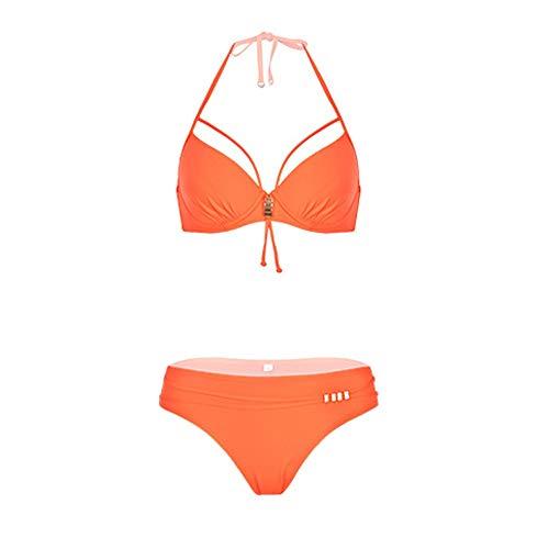 LEYOUDIAN YY Bikini de Vacances à la Plage Gros Seins Sexy Petite Poitrine réunis Source Chaude Maillot de Bain Femmes (Color : Orange, Size : XL)