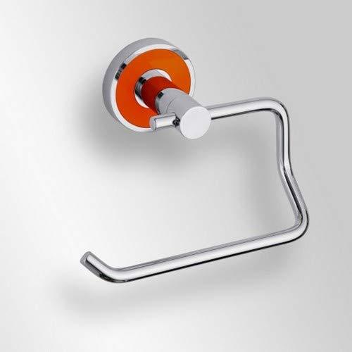 Papierrollenhalter ohne Deckel Messing verchromt silber mit orangem Ring 13,5 x 6,5 x 10 cm Badartikel Bad Zubehör Badezimmer -