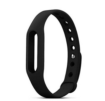 Safeseed Replacement Strap for Xiaomi Mi Band 1 Bracelet Silicone Wristband Cover case (Black)