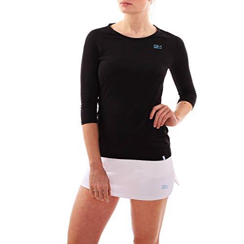 Sportkind Mädchen & Damen Tennis, Fitness, Running 3/4-Arm Shirt, schwarz, Gr. M