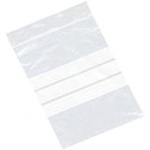 Bolsita de plástico transparente con bandas para etiquetar, cierre seguro, 10 x 13 cm, 100 unidades