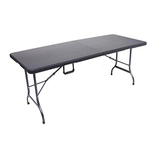 Unbekannt VARILANDO Klapptisch in schwarz aus Kunststoff und Stahl in Rattan-Optik Bierzelt-Tisch...