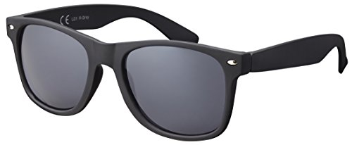 Original La Optica UV400 Vintage Unisex Retro Sonnenbrille - Einzelpack Gummiert/Rubber Schwarz (Gläser: Grau) LO1 R-Grey