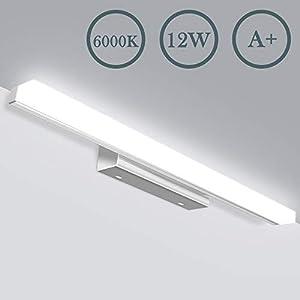 LED Spiegelleuchte,badezimmer Lampe,JSLHT IP44 Wasserdichte Badlampe, Kaltweiss Schrankbeleuchtung, Wandlampe,6000K 12W 50cm 800lM,Bad