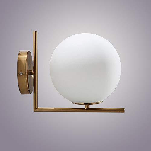 Yaione Industrielle Vintage Wandleuchte Leuchte mit Mini Runde Globus Milchweiß Glas mundgeblasen Schatten Wandleuchte 1 Licht für Wohnzimmer Wandleuchte Plug in rustikale Wohn Lampe Gold - Mundgeblasenes Glas Basen